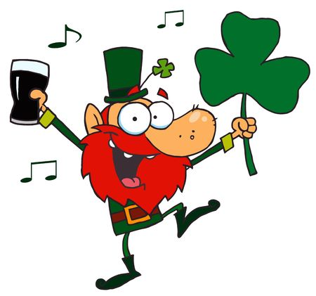 stock illustration:  Lucky Leprechaun Dancing with a Glass of Beer and Shamrock