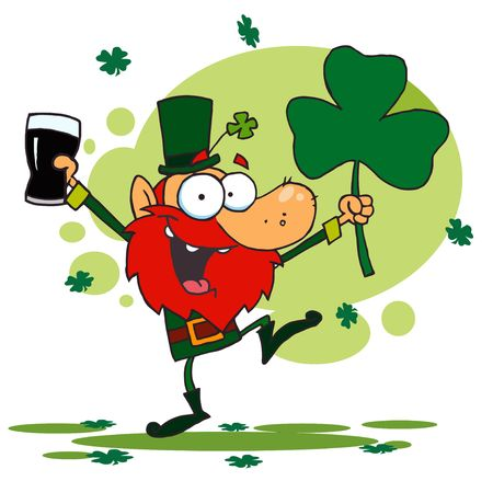 st paddys day: Dancing Leprechaun Holding A Shamrock And Beer