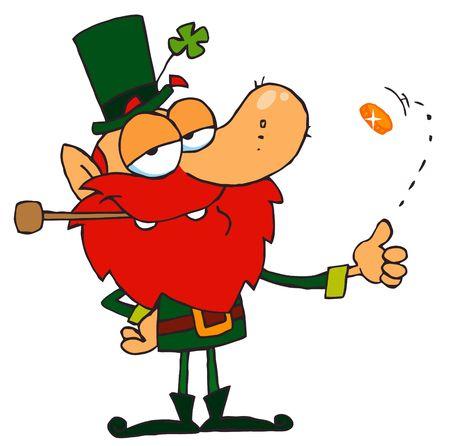Lucky Leprechaun Playing with a Gold Coin Stock Vector - 6905896