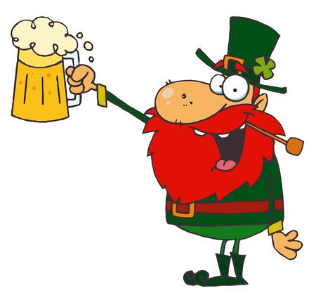 Lucky Leprechaun Toast with a Mug of Beer Illustration