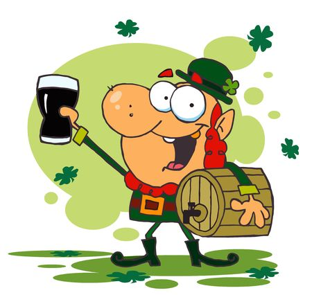 st paddys day:  Lucky Leprechaun Toasting With A Glass And Carrying A Keg,background