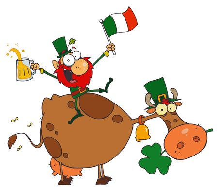 paddys: Lucky Leprechaun Sitting On A Cow With Beer And A Flag