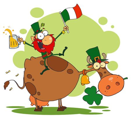 Lucky Leprechaun Riding a Cow with a Glass of Beer and An Irish Flag Stock Vector - 6906770