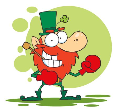 st paddys day: Boxing Leprechaun With A Pipe In His Mouth Illustration