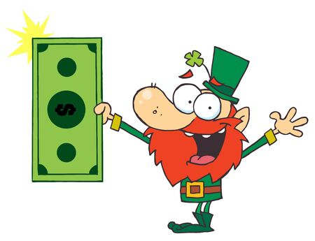 st paddys day: Lucky Leprechaun Holding Cash