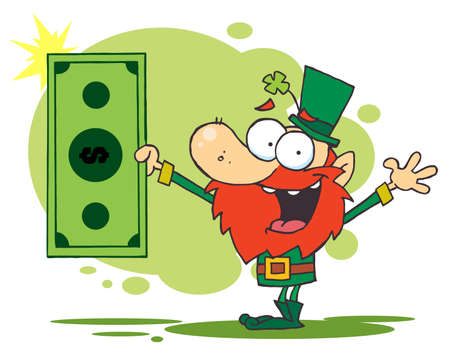 Lucky Leprechaun Holding A Dollar Bill Vector