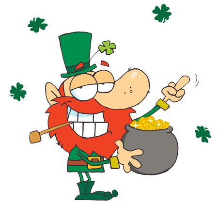 Leprechaun Holding Up His Middle Finger Of A Pot Of Gold Çizim