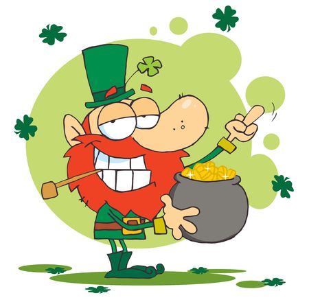 Leprechaun Holding A Pot Of Gold And Flipping His Middle Finger Çizim