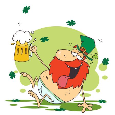 Tipsy Leprechaun Lying Naked With Beer Vector