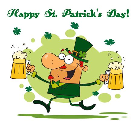 Happy St Patrick's Day Greeting Of A Leprechaun Running With Two Beers Stock Vector - 6906769
