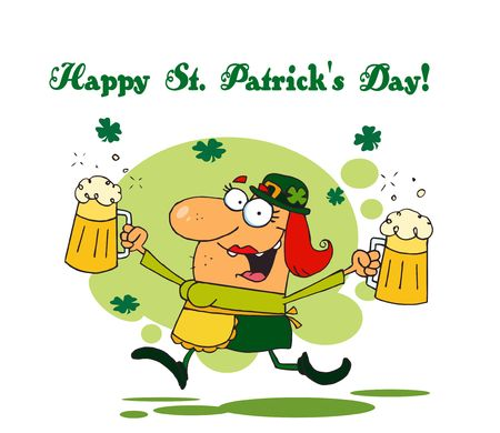 st paddys day:   Happy St Patricks Day Greeting Of A Female Leprechuan With Beer Illustration