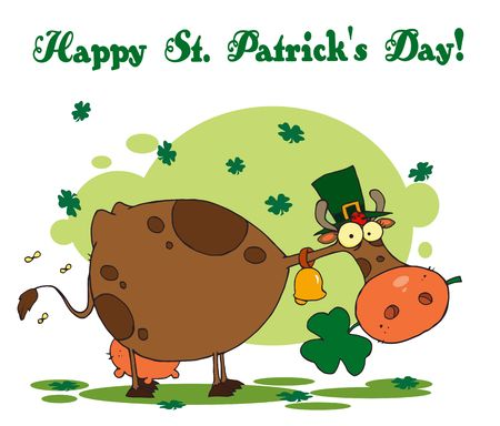 paddys: Happy St Patricks Day Greeting Of A Leprechaun Cow Illustration