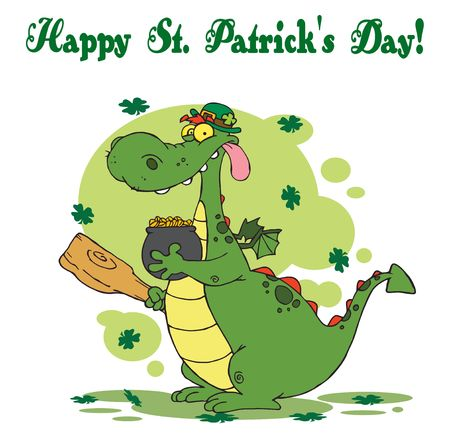 Happy St Patricks Day Greeting Of A Leprechaun Dragon With  Gold Illustration