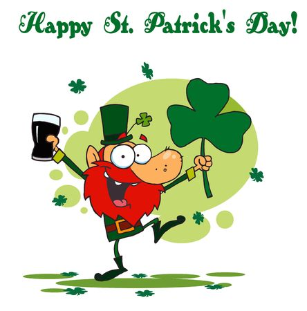 st paddys day:   Happy St Patricks Day Greeting Of A Leprechaun With Beer And A Clover Illustration