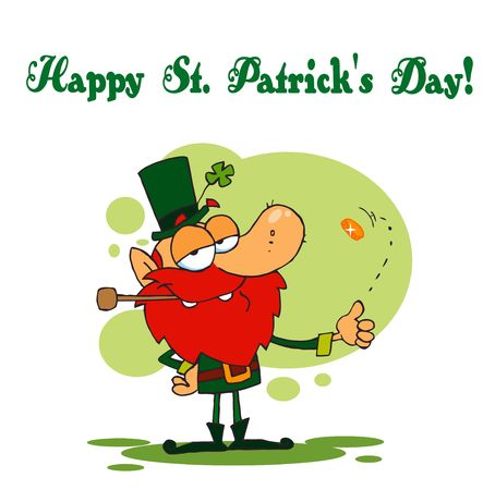 paddys: Happy St Patricks Day Greeting Of A Leprechaun Flipping A Coin