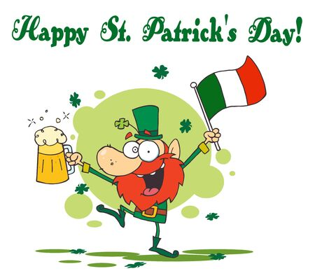 paddys:   Happy St Patricks Day Greeting Of A Drunk Leprechuan Dancing With Beer And A Flag