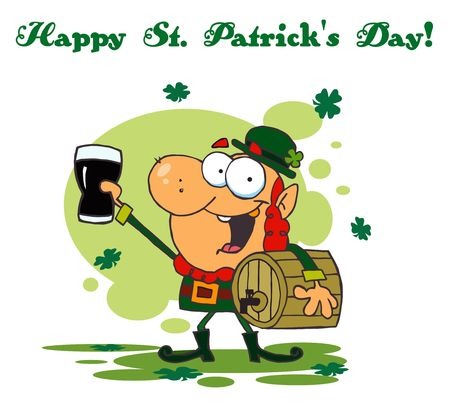 paddys: Happy St Patricks Day Greeting Of A Leprechaun With A Keg And Beer