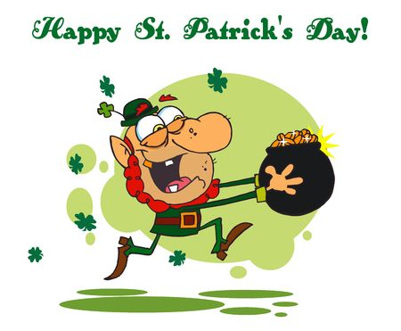 st paddys day: Happy St Patricks Day Greeting Running With A Pot Of Gold Illustration