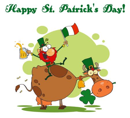 st paddys day: Happy St Patricks Day Greeting Of A Leprechaun With A Flag And Beer On A Cow Illustration