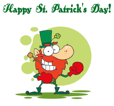 Happy St Patrick's Day Greeting Of A Boxing Leprechaun Stock Vector - 6906100