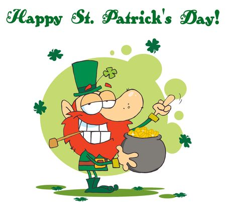 saint paddy's: Leprechaun Holding Up His Middle Finger Of A Pot Of Gold Illustration