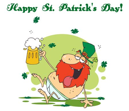 stock clip art icon: Happy St Patricks Day Greeting Of A Tipsy Leprechaun In His Underwear, Holding Up A Beer Illustration