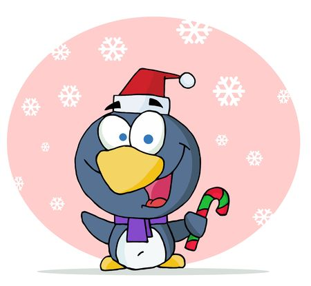 Christmas Penguin Holding A Candy Cane Vector