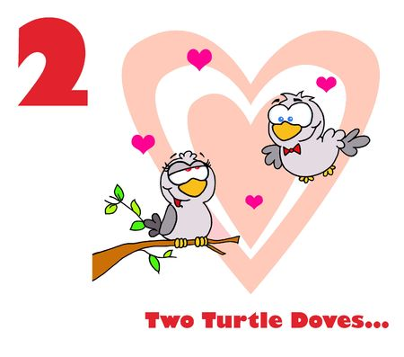Two turtle doves with text