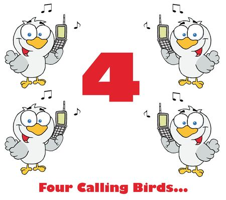 Four calling birds with text Stock Photo