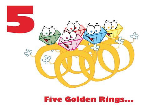diamond ring: Red Number Five And Text Over Gold Rings