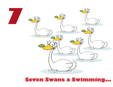 Red Number Seven And Text By Swimming Swans Reklamní fotografie