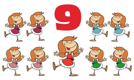 Red Number Nine Over Nine Ladies Dancing Stock Photo - 6907105