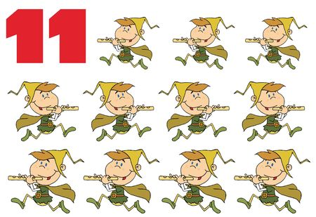 pipers: Red Number 11 By Eleven Pipers Piping Stock Photo