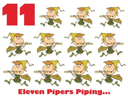 pipers: Eleven pipers piping with text Stock Photo