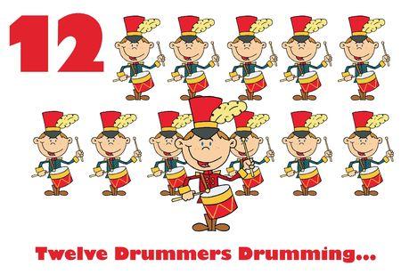 Twelve drummers drumming with text Reklamní fotografie