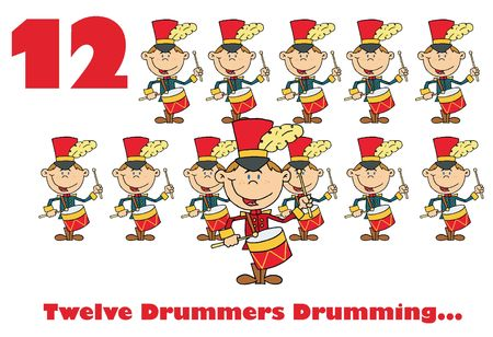 drumming:  Twelve drummers drumming with text Stock Photo