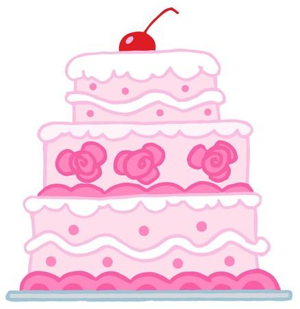 cake decorating: Pastel de bodas en niveles con Rosa Y blanco Frosting de triple Vectores