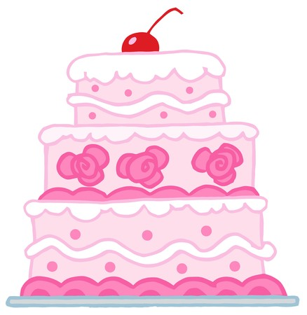 Triple Tiered Wedding Cake With Pink And White Frosting Stock Vector - 6905377