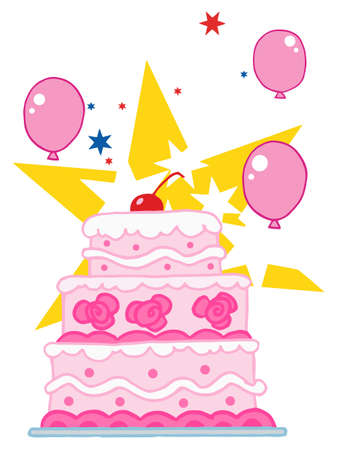Cherry Topped, Triple Tiered Cake With Pink And White Frosting, Balloons And Stars Vector