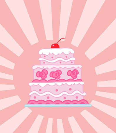 Triple Tiered Pink Wedding Cake On A Shining Pink Background Vector