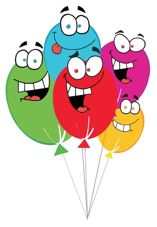 red balloons:  Happy Birthday Baloons