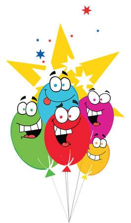 Happy Birthday Baloons With Stars Vector
