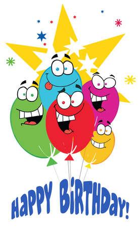 Happy Birthday Baloons With Stars With Text Happy Birthday! Vector