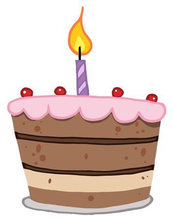 porcion de torta: Pastel de cumplea�os con una vela lit