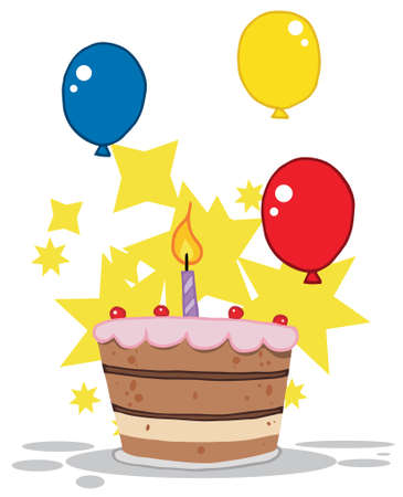 isolated: Birthday Cake With One Candle Lit And Balloons And Stars Illustration