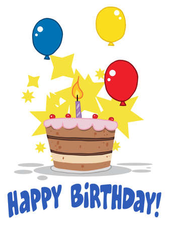trozo de pastel: Pastel de cumplea�os con una vela encendidas y globos y estrellas  Vectores