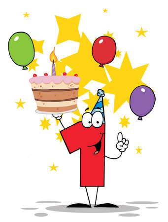 number candles: El n�mero uno con pastel de cumplea�os con una vela encendidas y globos y estrellas  Vectores
