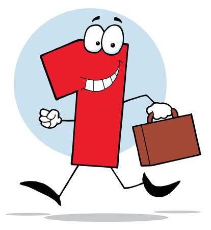 Cartoon Business numéro un exécutant avec valises Banque d'images - 6905198