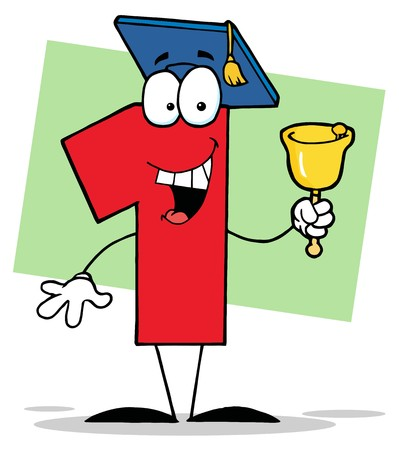 Number One Ringing A Bell And Graduate Cap 일러스트