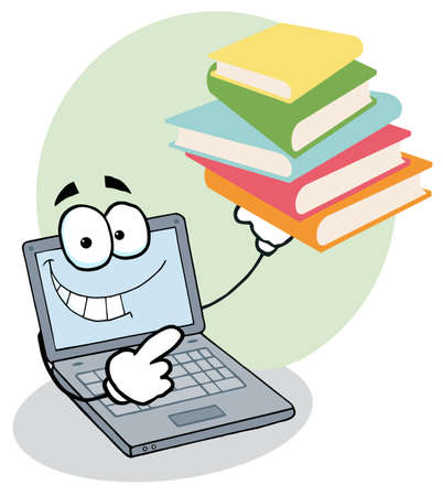 laptop: Laptop Cartoon Character Displays Stack Of Books Illustration